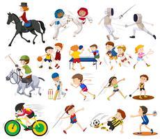 Människor gör olika typer av sport