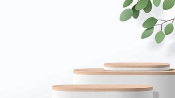 abstrakte minimale Szene mit geometrischen Formen. Holzpodest in weißem Hintergrund. Produktpräsentation, Mock-Up, Show-Kosmetikprodukt-Display, Podium, Bühnenpodest oder Plattform. 3D-Vektor vektor