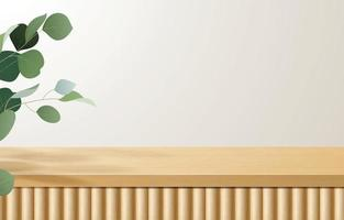 leerer minimaler Holztisch, Holzpodest in weißem Hintergrund mit grünen Blättern. für Produktpräsentation, Mock-Up, Show-Kosmetik-Display, Podium, Bühnenpodest oder Podest. 3D-Vektor vektor