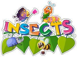 Ordinsekter med olika insekter på löv vektor