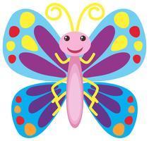 Färgglada fjäril med glatt leende vektor
