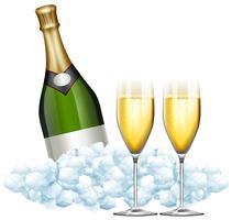 Två glas champagne och flaska i is