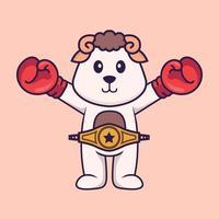 süßes Schaf im Boxerkostüm mit Championgürtel. Tierkarikaturkonzept isoliert. kann für T-Shirt, Grußkarte, Einladungskarte oder Maskottchen verwendet werden. flacher Cartoon-Stil vektor
