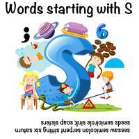 Pädagogisches Plakatdesign für Wörter, die mit S beginnen