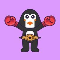 süßer Pinguin im Boxerkostüm mit Championgürtel. Tierkarikaturkonzept isoliert. kann für T-Shirt, Grußkarte, Einladungskarte oder Maskottchen verwendet werden. flacher Cartoon-Stil vektor