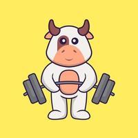 süße Kuh hebt die Langhantel. Tierkarikaturkonzept isoliert. kann für T-Shirt, Grußkarte, Einladungskarte oder Maskottchen verwendet werden. flacher Cartoon-Stil vektor