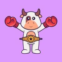 süße Kuh im Boxerkostüm mit Championgürtel. Tierkarikaturkonzept isoliert. kann für T-Shirt, Grußkarte, Einladungskarte oder Maskottchen verwendet werden. flacher Cartoon-Stil vektor