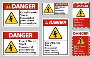 Gefahr Risiko von Stromschlag Symbol Zeichen isolieren auf weißem Hintergrund vektor