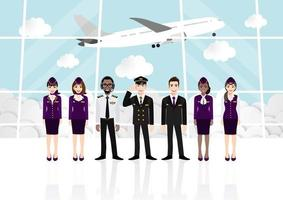 Cartoon mit Passagierraum im Flughafenterminal und professionellem Airline-Team in einheitlichem Vektor
