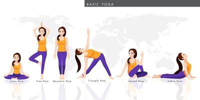 Zeichentrickfigur mit einer Sammlung von grundlegendem Yoga. Frau, die Yoga mit sechs Posen praktiziert, gesunder Lebensstil in flacher Ikonendesign-Vektorillustration vektor
