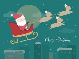 Frohe Weihnachten mit Weihnachtsmann-Fahrt auf einem Rentierschlitten vektor