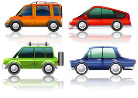 Olika typer av bilar i fyra färger