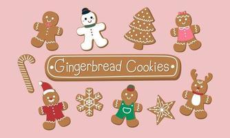 Satz süße Lebkuchenplätzchen für Weihnachten. auf rosa Hintergrund isoliert. Vektor-Illustration. vektor