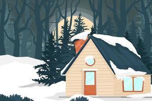Haus in der Naturwaldnachtlandschaft in der Wintervektorillustration vektor