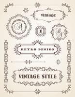 Set Retro Vintage Abzeichen, Rahmen, Etiketten und Grenzen.