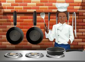 Ein professioneller Koch, der Nahrung kocht vektor