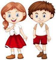 Pojke och flicka i röd och vit kostym