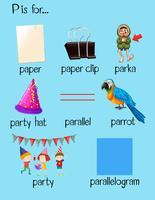 Olika ord börjar med bokstaven P vektor
