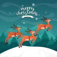 Frohe Weihnachtskarte mit Rentieren auf dem Berg mit Kiefer vektor