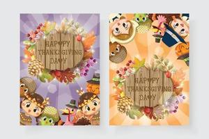 Happy Thanksgiving-Karte mit Jungen, Frau, Truthahn und Holzschild vektor