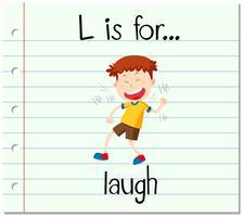Flashcard-Buchstabe L ist zum Lachen vektor