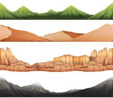 Nahtloser Hintergrund mit verschiedenen Ansichten von Bergen vektor
