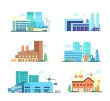 Satz von industriellen Fabrik- und Fertigungsgebäuden Abbildung vektor