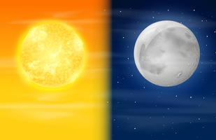 Tag und Nacht am Himmel vektor