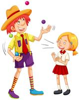 Tjej och clown jonglering bollar