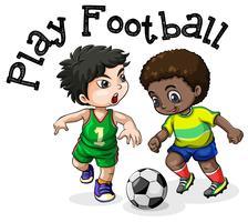 Barnen spelar fotboll på vit bakgrund