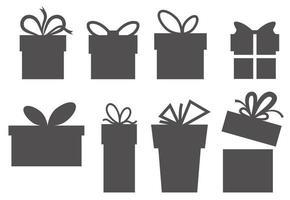 eine Reihe einfacher Geschenkboxen. Silhouetten der Boxen. Vektor