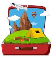 Camping im Koffer vektor