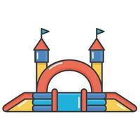 Hüpfburg aufblasbar. Turm und Ausrüstung für Kinderspielplatz. vektorlinie illustration vektor