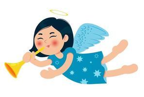 süßer kleiner Weihnachtsengel mit Trompete. asiatisches Baby. Zeichentrickfigur. Vektor-Illustration. vektor