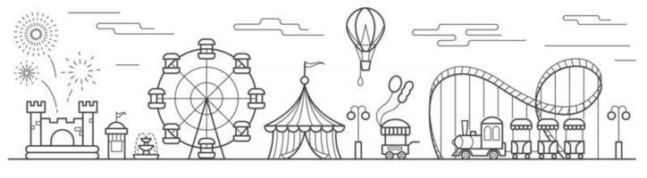 Panorama eines Vergnügungsparks mit Riesenrad, Zirkus, Fahrgeschäften, Ballon, Hüpfburg. Landschaft des Stadtparks. Umriss-Vektor-Illustration vektor