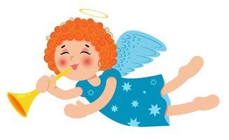 süßer kleiner Weihnachtsengel mit Trompete. lockiges rothaariges Baby. Zeichentrickfigur. Vektor-Illustration. vektor