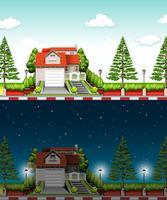 Privat hus på dagtid och natt vektor