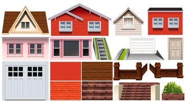 Unterschiedliches Design von Haus- und anderen Hauselementen vektor