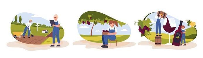 Ein Traubenbauer kultiviert und erntet Trauben für die Weinherstellung. vektor
