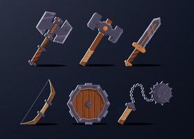 6er-Set für den Krieger-Charakter. vektor