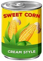 Kan av krämstil sött majs vektor