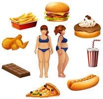 Överviktiga kvinnor med ohälsosam mat vektor