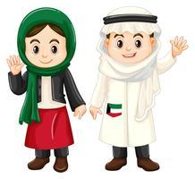 Pojke och flicka från Kuwait vinkande händer