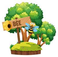 Bee flyger runt i trädgården