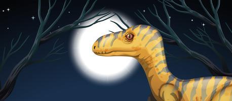Dinosaur på nattscenen vektor