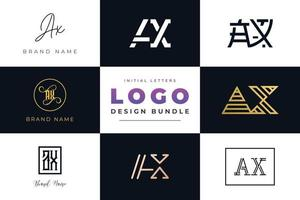 Satz von Sammlungsanfangsbuchstaben Axt-Logo-Design. vektor