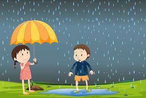 Två barn i regnet