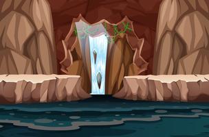 Vackert vattenfall grottlandskap