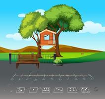 Tre hus i naturlandskap