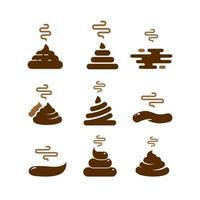Braunes Poop-Symbol im trendigen Linienstil. Vektorbild. stinkende Hundekot-Logo-Symbol-Zeichen. Kot im Cartoon-Stil. Vektor-Illustration-Bild. Schokoladencreme-Sammlung isoliert auf weißem Hintergrund vektor